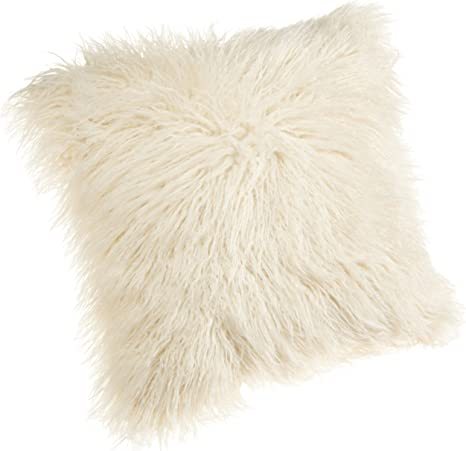 Amazon Com Brentwood 18 Inch Mongolian Faux Fur Pillow White Home Kitchen