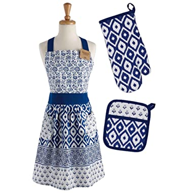 DII COSD35141 Cotton Gift Set, Machine Washable, Perfect for Everyday Kitchen Cooking and Baking, Oven Mitt 7x11, Apron 29x36, and Potholder 8x9