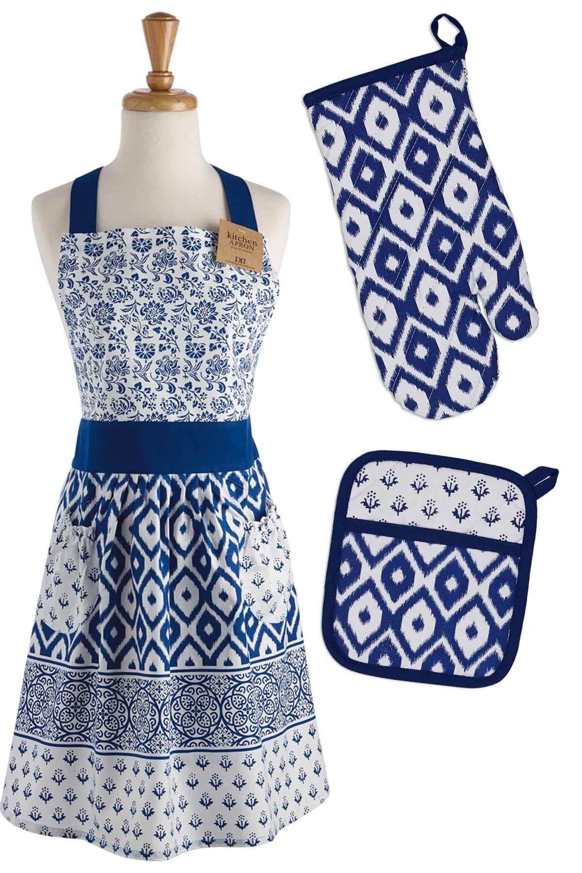 DII COSD35141 Cotton Gift Set, Machine Washable, Perfect for Everyday Cooking and Baking, Oven Mitt 7x11, Kitchen Apron 29x36, and Potholder 8x9, Blue Market