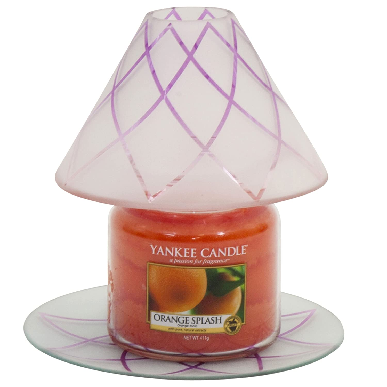 Yankee Candle Photophore en verre Motif fleur de lotus, Verre, Large Shade & Tray w/ Medium Jar