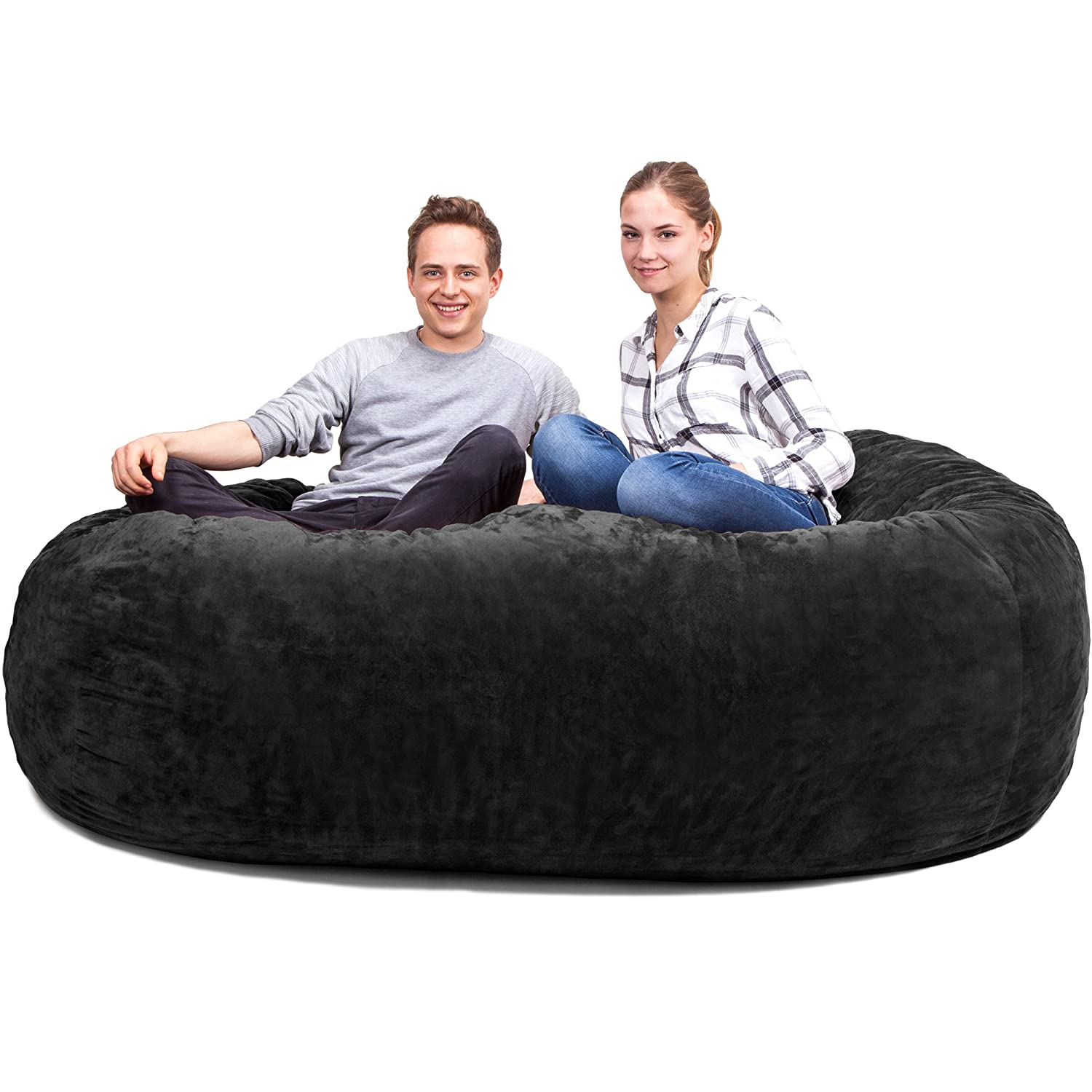 aef9797cba The Biggest beanbag in Europe - Gigantic Bean Bag Chair in Black with  Memory Foam Filling and Machine Washable Cover-Comfortable Cozy Lounge Sack  to Chill