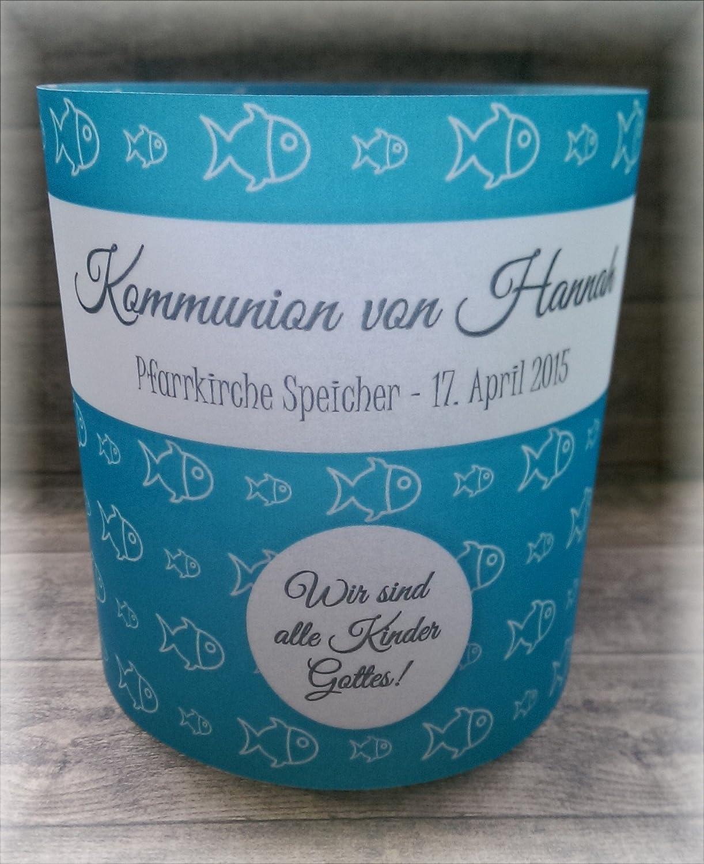 4er Set Tischlicht Tischlichter Kommunion Konfirmation Jugendweihe Taufe Fisch Fische Tischdeko personalisierbar türkisblau blau