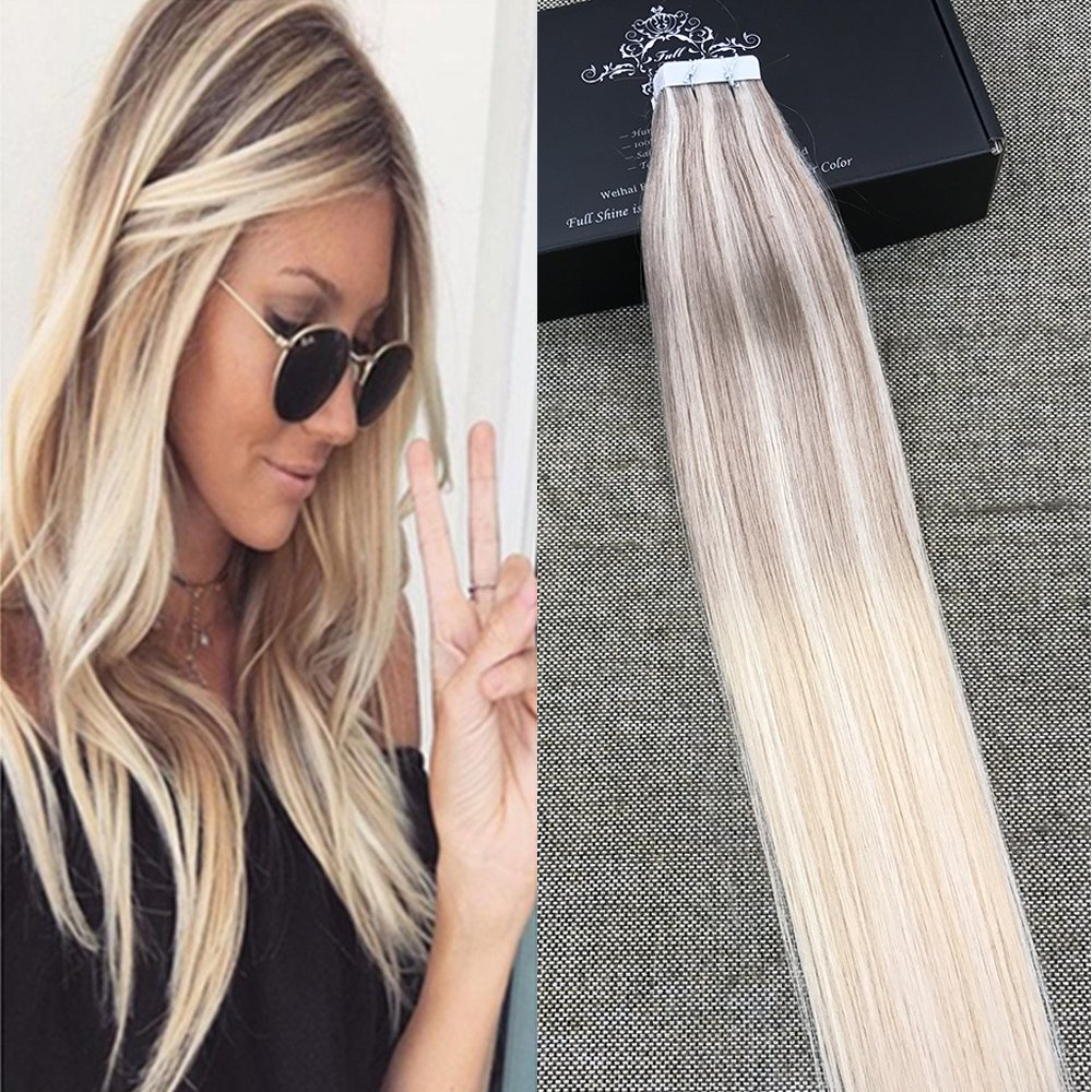 Amazon Full Shine 18 Tape In Remy Human Hair Extensions Tape