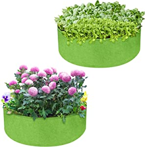 Plant Grow Bags 2 Pack, Allnice 50 Gallon Large Grow Bag Round Heavy Duty Planter Pots Thickened Nonwoven Fabric Garden Bed for Planting Vegetables Flowers Herbs Plants (36