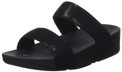 1868ed7048b113 FitFlop Women s Shimmy Suede Slide Sandal Black Glimmer 5 ...