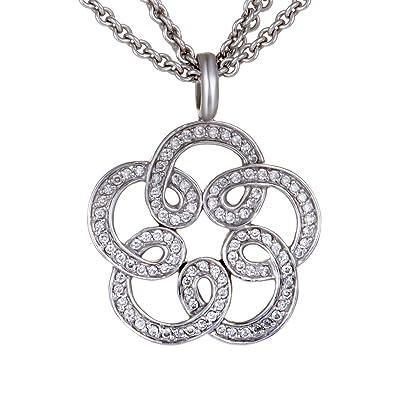 Amazon tous 18k white gold diamond pave flower pendant necklace tous 18k white gold diamond pave flower pendant necklace aloadofball Gallery