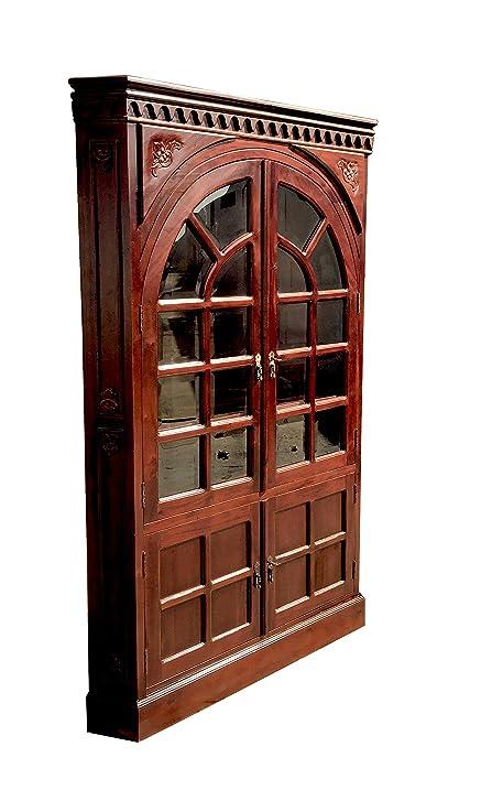 Exceptional D ART Rustic Corner Cabinet 2 Door Curio In Mahogany Wood