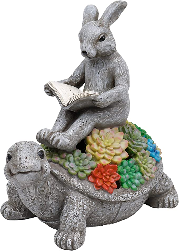 Teresa S Collections Garden Statue Rabbit Sitting On Tortoise Reading Book Figurine With Solar Lights Polyresin Garden Figurines For Outdoor Decoration Outdoor Paradise Kitchen Dining