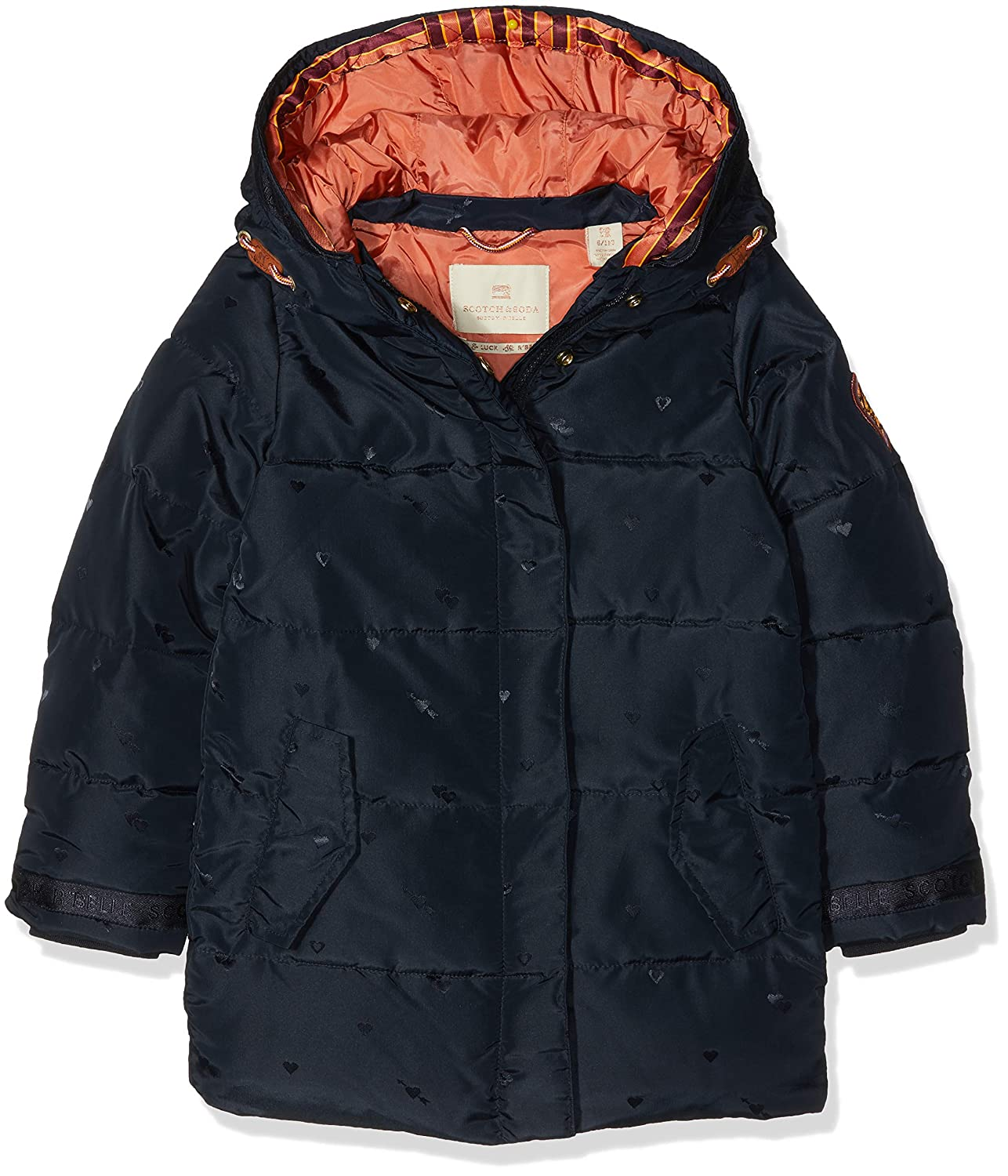 Bleu (Night 002)  Scotch & Soda Padded Jaquard veste with Double Hood Construction Blouson Fille
