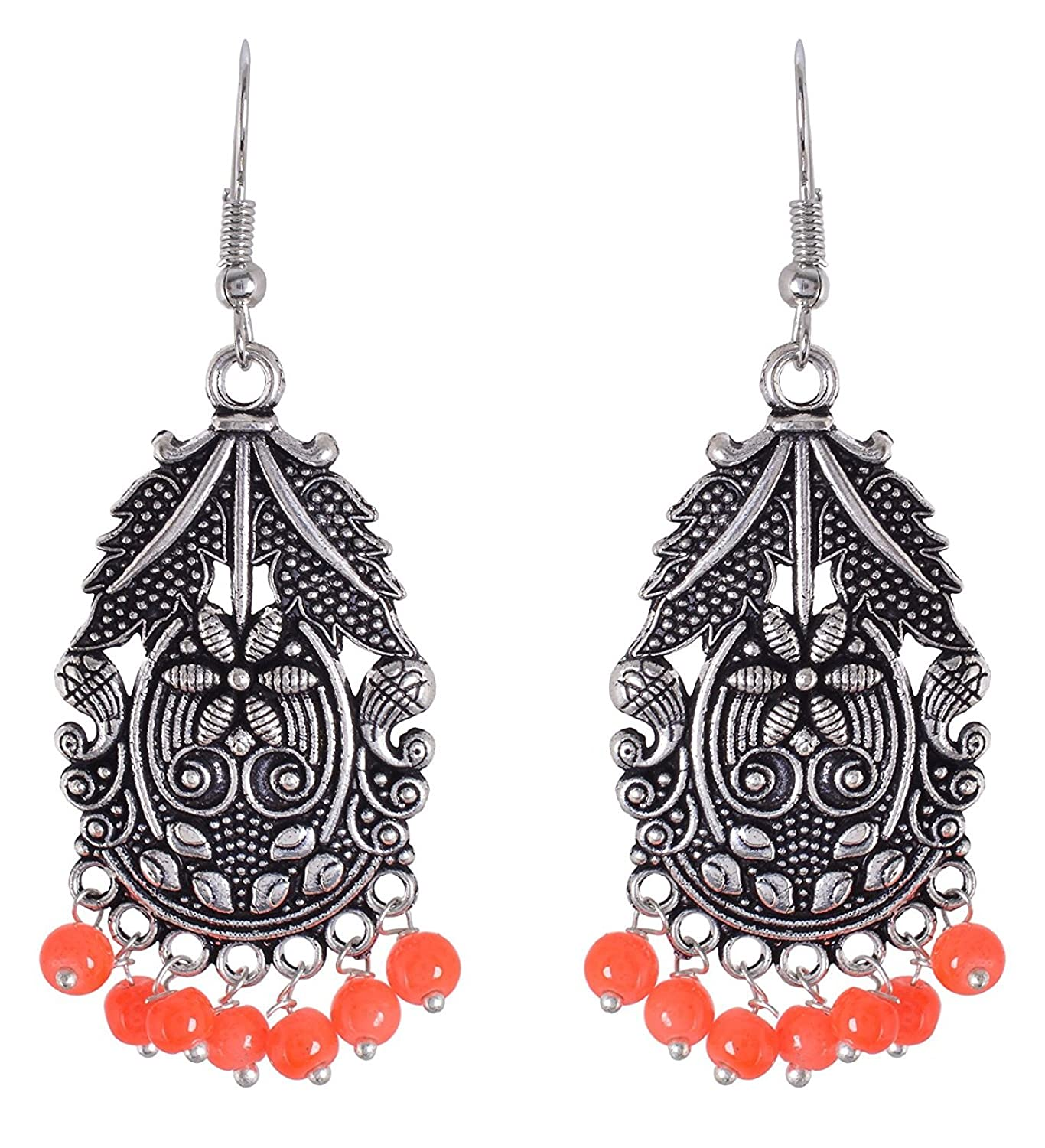 Subharpit Floral Orange Oxidized Silver Traditional Indian Dangle Earrings for Women and Girls