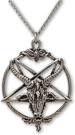 Baphomet Devil Satan Goat Head Pentagram Pentacle Necklace Pendant Gothic Chain