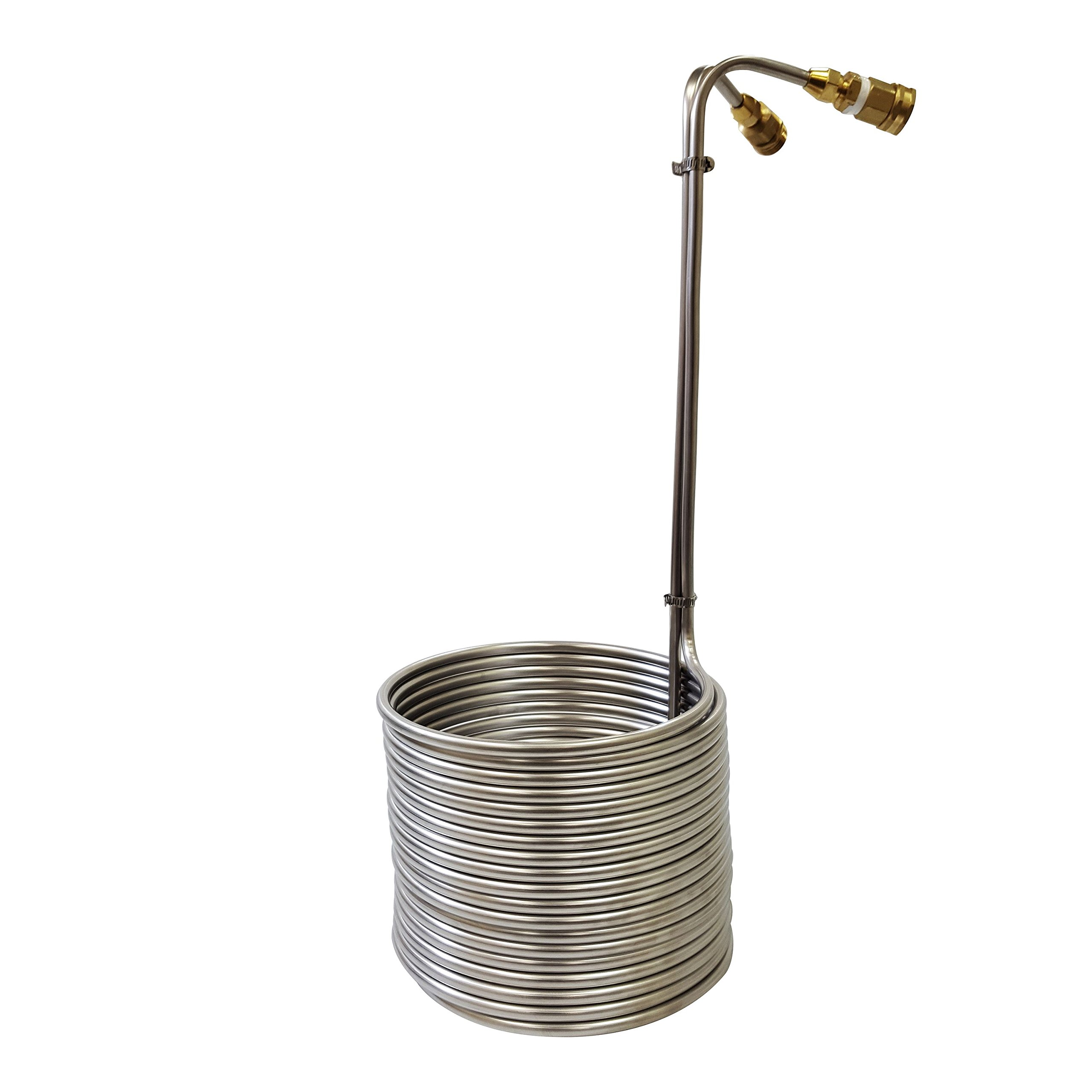 NY Brew Supply Stainless Wort Chiller with Garden Hose Fittings, 3/8'' x 50', Silver