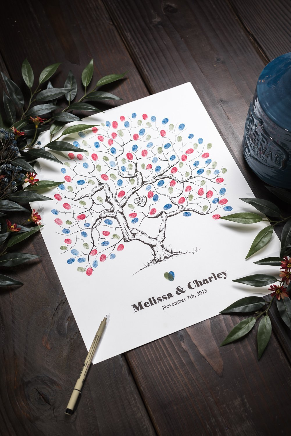 Fingerprint Tree custom wedding guestbook - Original thumbprint guest book alternative (Small Size Love Tree Ink) includes 1 ink pad!!