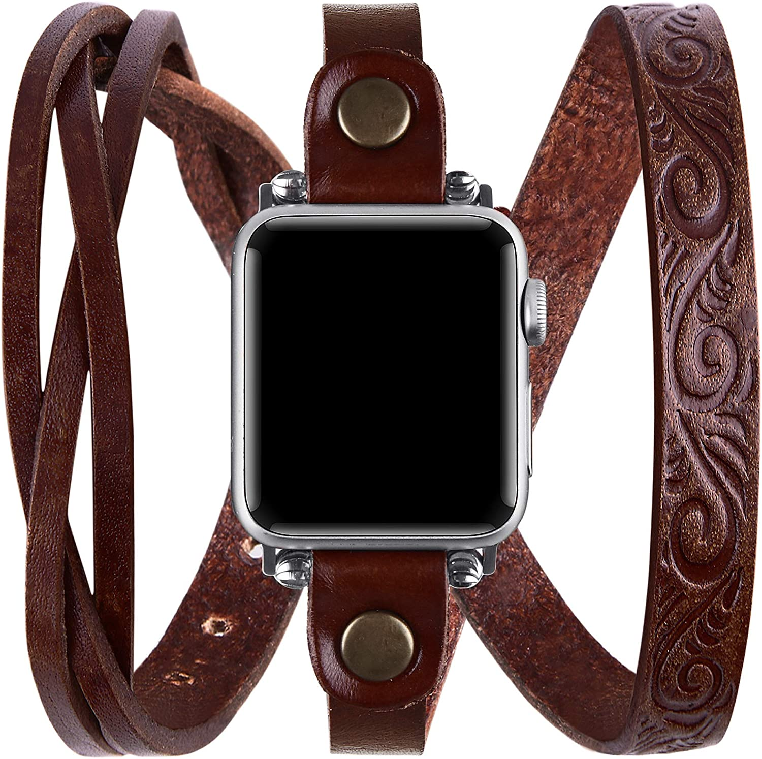Vikoros Leather Double Wrap Band Compatible for Apple Watch 38mm 40mm 42mm 44mm Iwatch Series 6/5/4/3 Womens, Cool Woven Leather Bracelet Design Watch Bands Strap Compatible with Apple Watch SE