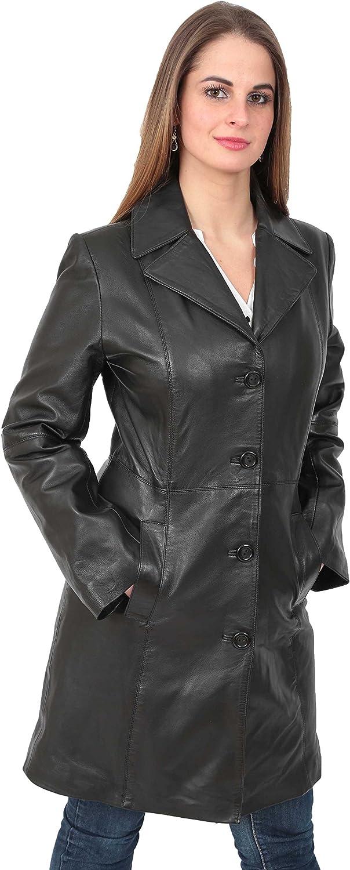 Lexi A1 FASHION GOODS Damen Trench 3//4 L/änge Echter Ledermantel Parka Ausgestattet Jacke Im Bereich Von Farben