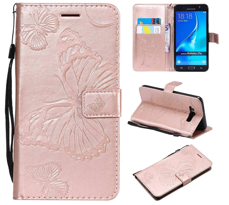 Oro Rosa THRION Funda Samsung Galaxy J7 2016 Cuaderno Cuero PU Mariposa Cubierta con Ranuras para Tarjetas y Cierre Magn/ético para Samsung Galaxy J7 2016