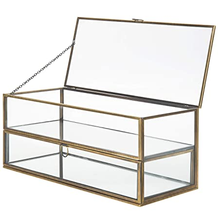 MyGift - Caja de exhibición de Joyas con Espejo de Metal y Cristal, Estilo Vintage: Amazon.es: Hogar