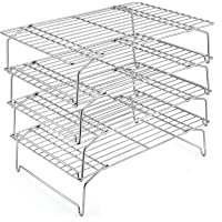 4-Tier Cooling Rack Set, P&P CHEF Stainless Steel Stackable Baking Cooking Racks for Cooling Roasting Cooking, Raised…