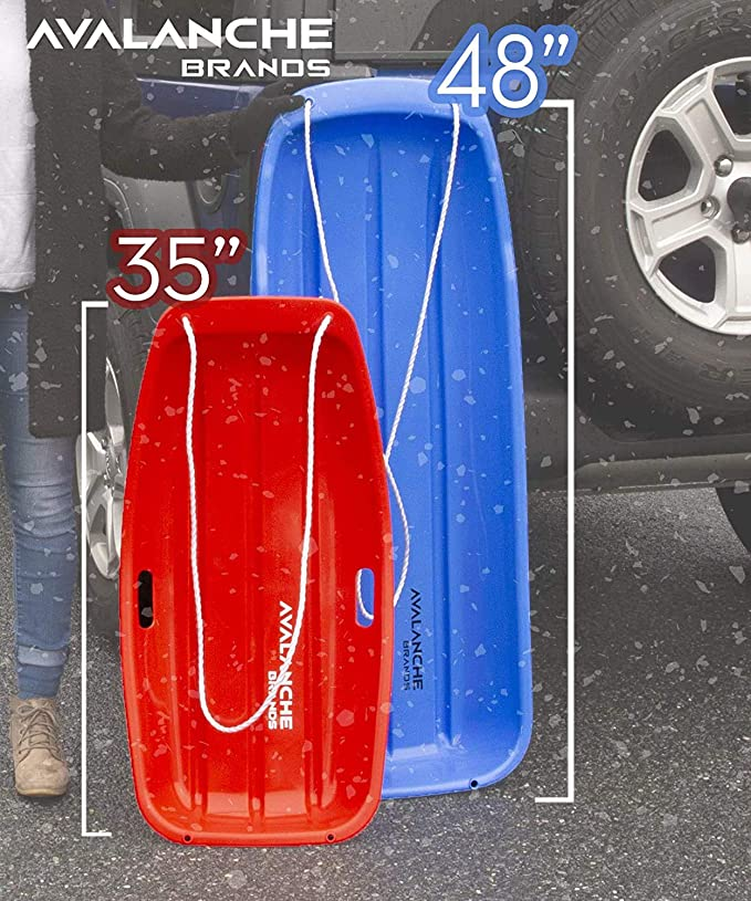Avalanche Brands Sled Black, 35-Inch Bundled with Saucer Snow Sled Red, 25-Inch
