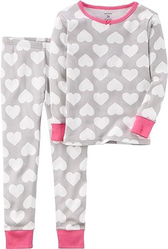 New Carter/'s Girls Heart Pajama 2pc Set Snug fit Pink Gray Toddler
