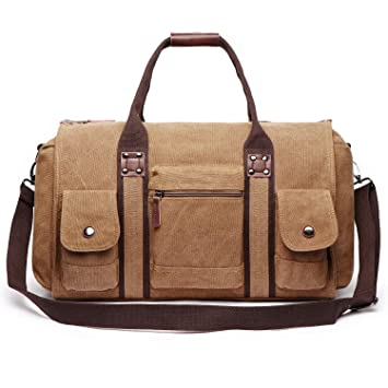 776f956554233 Oflamn Bolsa de Viaje Lona para Mujeres y Hombres - Bolsa Fin de Semana  Bolsa Deporte Grande - Large Weekender Overnight Travel Carry On Bag  (Black)  ...