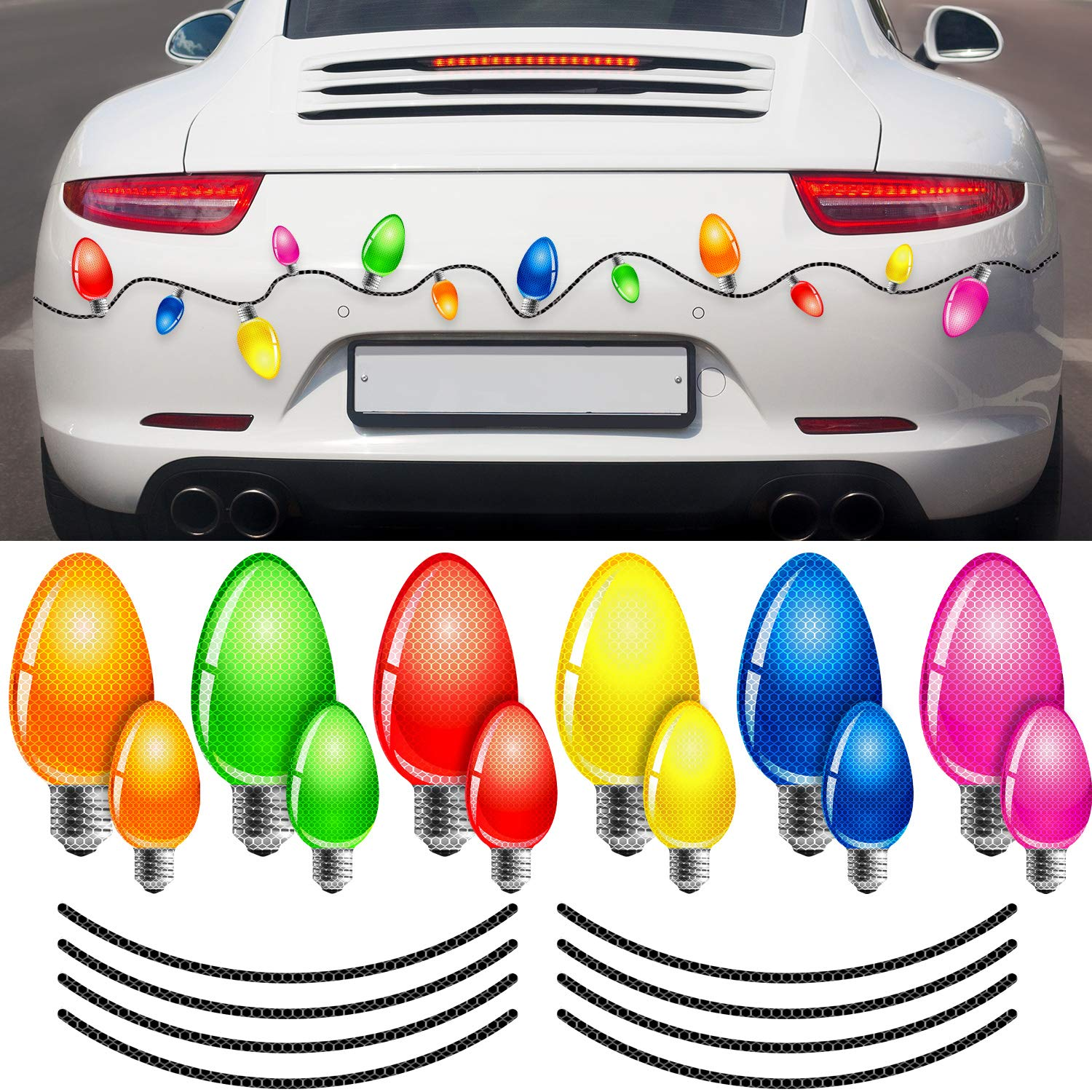 Blulu 20 Pieces Reflective Christmas Car Magnets Set, 12 Pieces Xmas Holiday Christmas Lights Bulb Magnet Set for Xmas Holiday Winter Party Car, Garage, Mailbox, Refrigerator Decal with 8 Magnet Wire