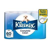 KLEENEX Toilet Tissue Complete Clean Toilet Paper, 60 Rolls (180 Sheets Per Roll, 15 x 4 Pack, 10cm x 10cm), 4.6 Kilograms