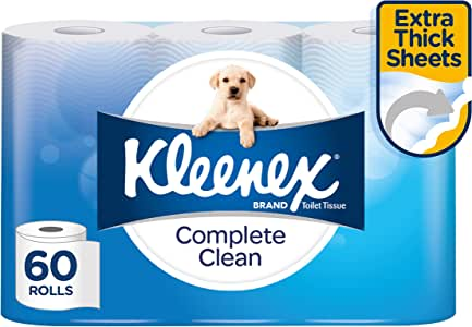 KLEENEX Complete Clean Toilet Paper, 60 Rolls (180 Sheets Per Roll, 15 x 4 Pack, 10cm x 10cm)