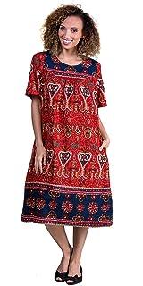 5ba525d2ea897 La Cera Short Sleeve Cotton Float Dress - Lounger Caftan in Royal Crimson