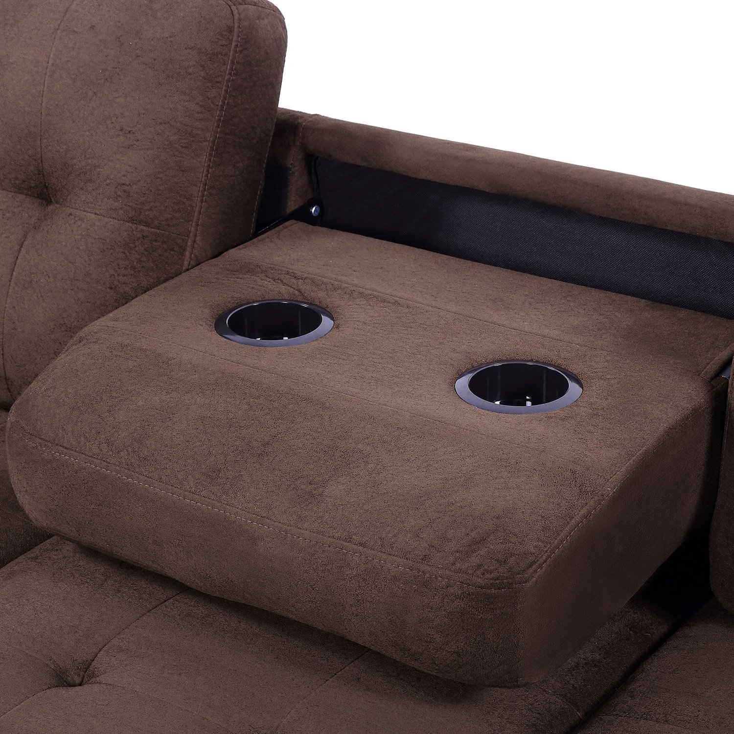 Harper & Bright Designs 3 Piece Sectional Sofa Microfiber with Reversible Chaise Lounge Storage Ottoman and Cup Holders (Brown) by Harper & Bright Designs (Image #6)