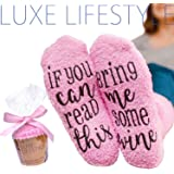 """""""If You Can Read This Bring Me Some Wine"""" - Funny Socks with Cupcake Gift Packaging - Thermal Fuzzy Warm Cotton For Wife Women Hostess Housewarming Novelty Romantic Birthday Present Or Wine Lover"""