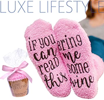 If You Can Read This Bring Me Some Wine Funny Socks Cupcake Gift