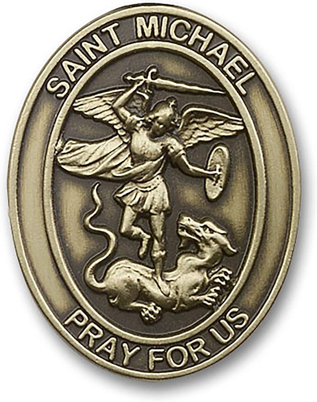 VILLAGE GIFT IMPORTERS Antique Brass Visor Clip ST Michael The Archangel 5