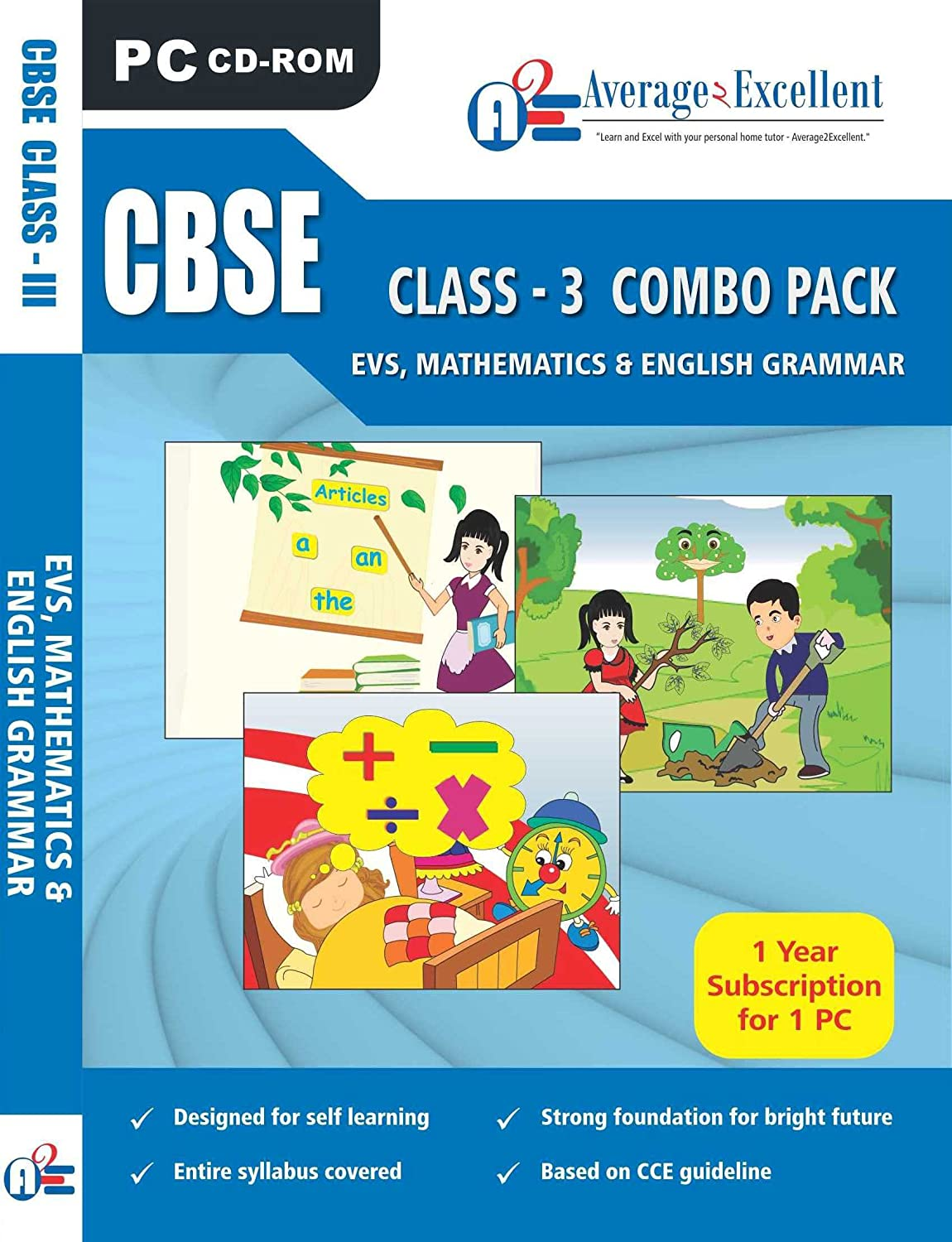 Average2Excellent Class 3 (EVS, Maths, English) CBSE (CD): Amazon.in ...