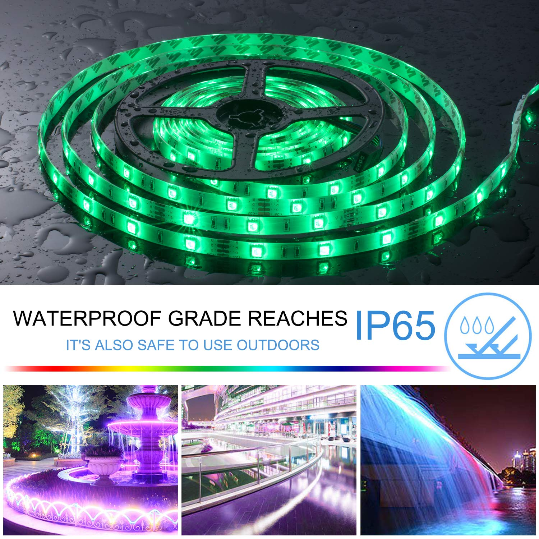 UTTORA 10M Tiras LED, Tiras LED RGB 5050 12V con 300 LEDs, Impermeable IP65, Control Remoto de 44 Teclas para Decoración de Casa, Jardín, Fiesta, etc.