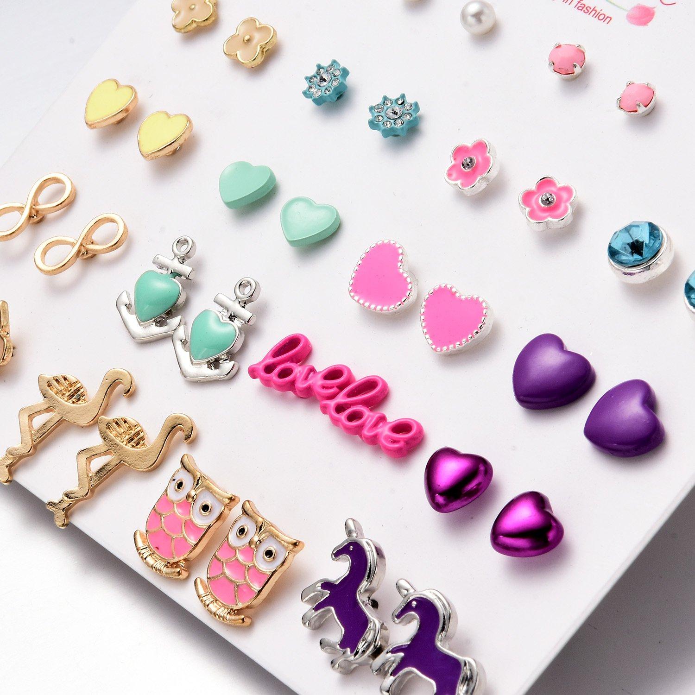 Stud Earrings Set Jewelry for Women Girl Gold bow knot yellow earrings Set Gold Silver Fashion Wedding by Unijew (Image #4)