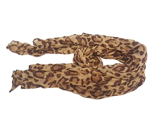 442dee54b33c2 Celebrity Designer Style brown beige leopard animal print ladies Scarf - by  Fat-Catz-copy-catz  Amazon.co.uk  Clothing