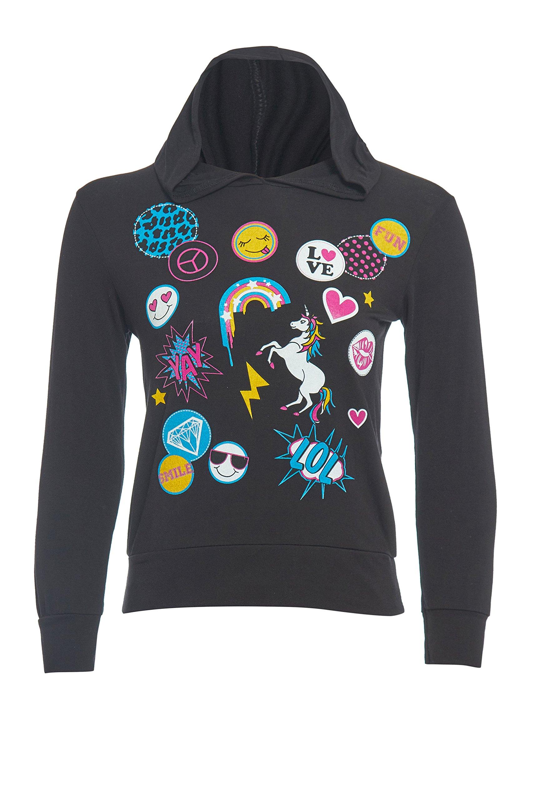 GUBA® Girls Unicorn Emoji Print Fairytale Long Sleeve Hoodie Size 7-13 Years (Black, 11-12 Years)
