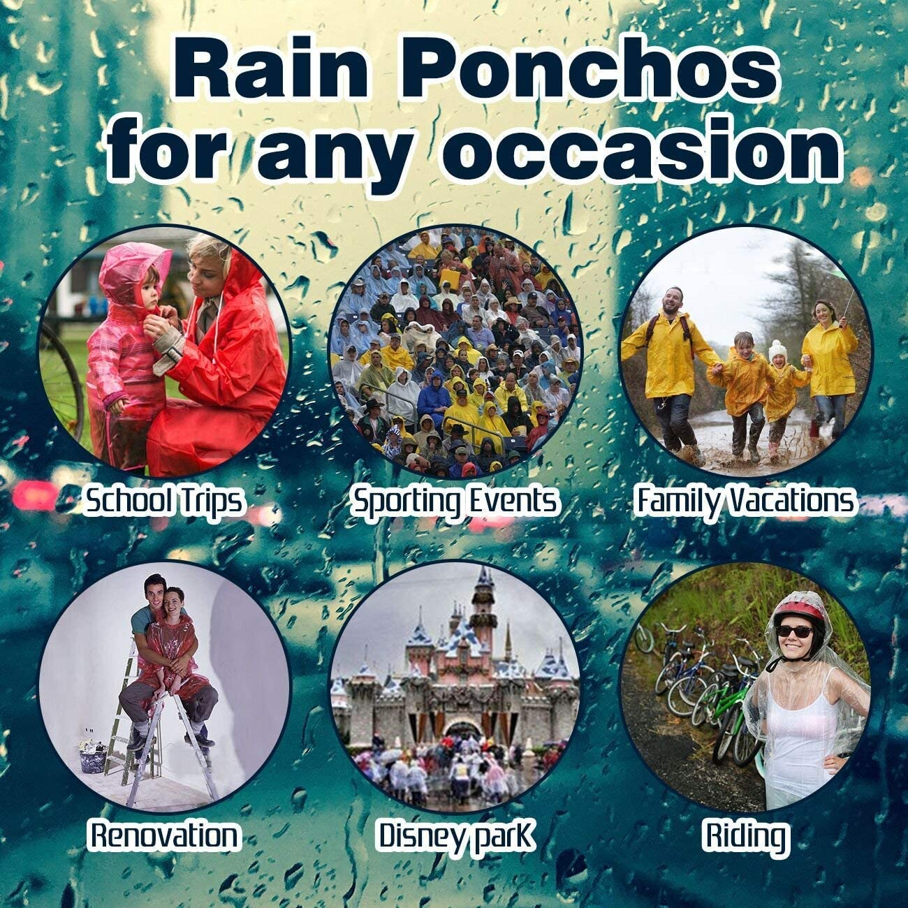 Camping EVANCE Rain Ponchos,with Drawstring Hood,Waterproof Rain Cape with Hood Hiking Fishing Disposable Emergency Rain Ponchos for Family Travel
