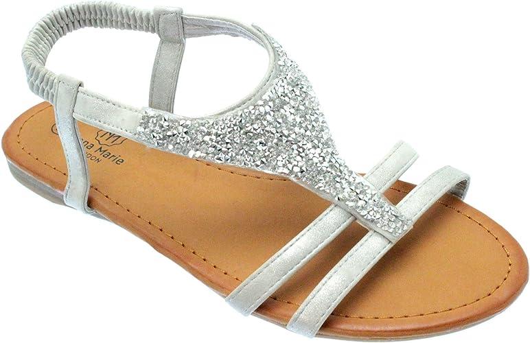 TM Sandals - CLIO Silver Sparkly Flat