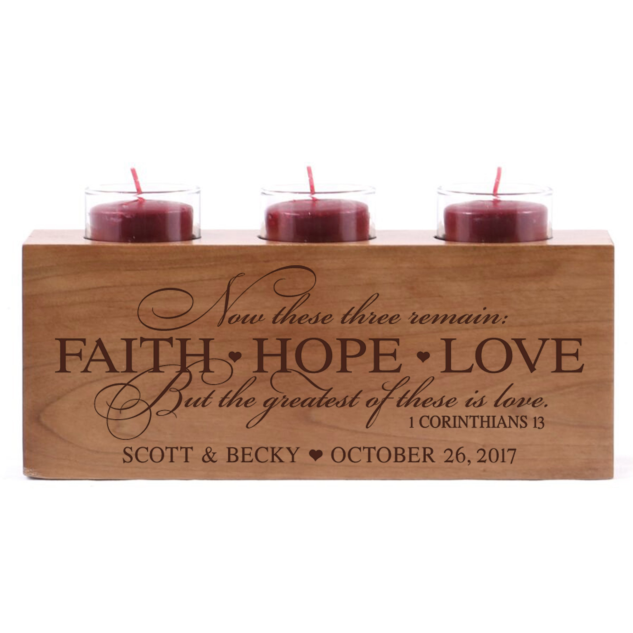 Personalized wedding anniversary candle holder for him her engraved cherry wood engagement ideas for boyfriend or girlfriend One FAITH HOPE LOVE 10'' L x 4'' H by LifeSong Milestones (Faith Hope Love)