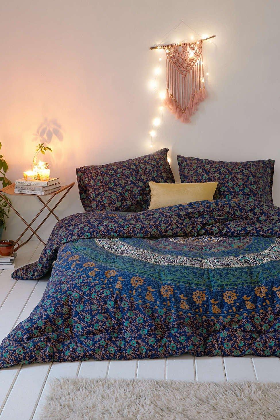 Sophia Art Exclusive Bohemian Indian Mandala Duvet Queen Quilt with Pillowcases, Mandala Quilt Cover, Boho Duvet Cover, doona Cover (Multi) with Magazine Holder Letter Holder Wall Hanging