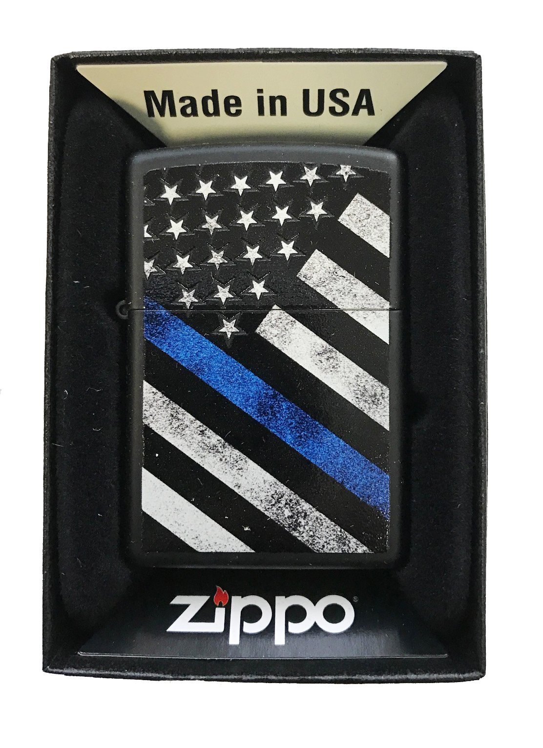 Zippo Custom Lighter - Blue Line Police Support USA Flag - Black Matte