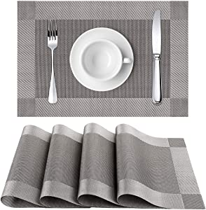 Placemats, Heat-Resistant Placemats, Placemats for Dining Table, Table Placemat, Placemats Washable Dining Table, Easy to Clean PVC Placemat for Kitchen Table, 12x18 Inches, Set of 4 (Gray)