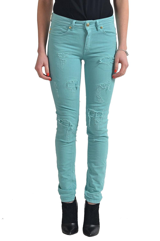 "Just Cavalli ""Just Luxury"" Women's Ripped Green Skinny Slim Jeans US 26 IT 40"