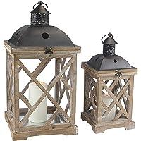 Stonebriar Rustic Wood and Metal Candle Lantern Set, SB-6135S2, Brown, Large