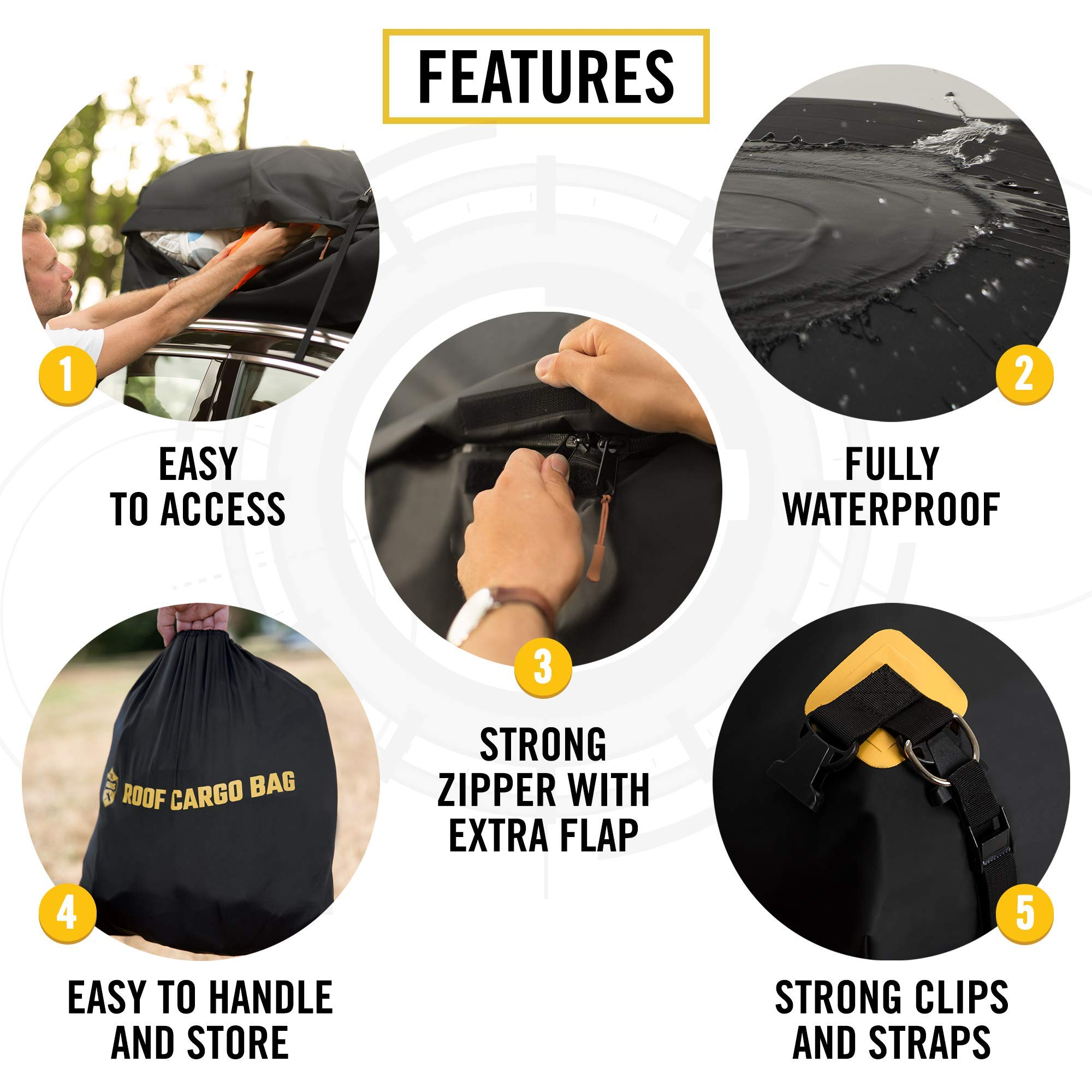 Car Top Carrier Roof Bag + Protective Mat - 100% Waterproof & Coated Zippers 15 Cubic ft - for Cars with or Without Racks by ToolGuards (Image #4)