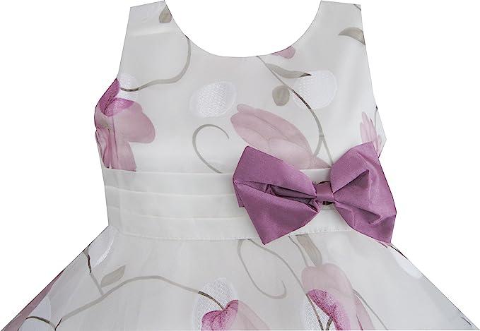Amazon.com: Sunny Fashion Girls Dress Purple Flower Bow Tie Wedding Party: Clothing
