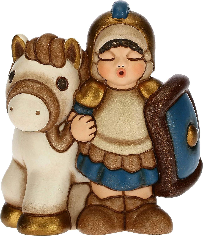 Thun – Figura de Belén Soldado con caballo – Decoración navideña para casa – Línea Belén clásico, Variante azul – Cerámica – 7,5 x 5,5 x 8,5 cm de altura