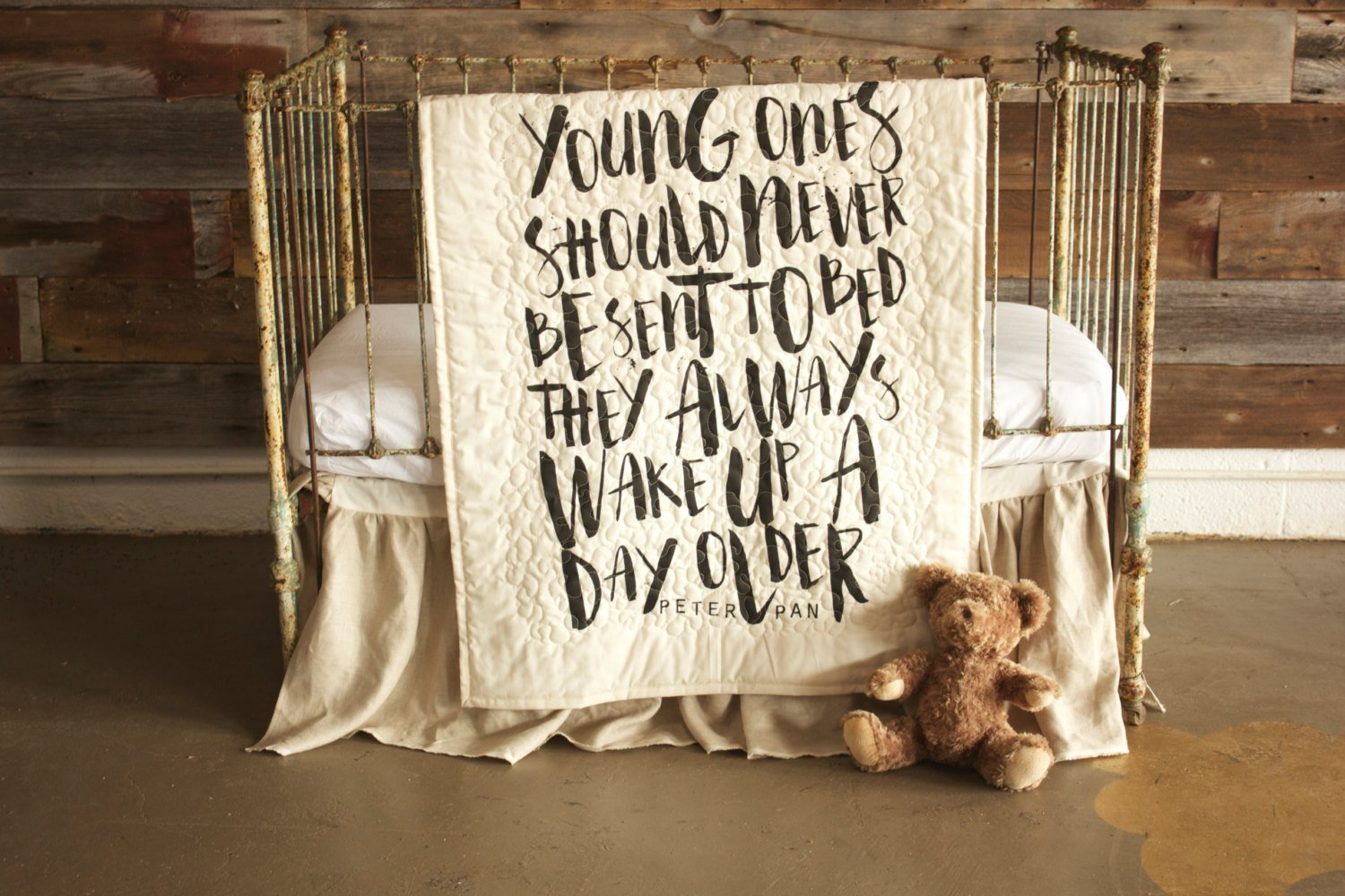 Young Ones - Linen Crib Quilt Baby Bedding - 36x45